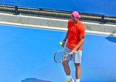 Rafael Nadal bawić się w australianie open Obraz Stock