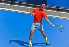 Rafael Nadal bawić się w australianie open Obrazy Stock
