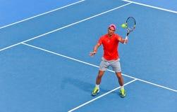 Rafael Nadal bawić się w australianie open Zdjęcia Royalty Free