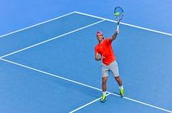 Rafael Nadal bawić się w australianie open Fotografia Stock