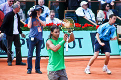 Rafael Nadal during a match at Roland Garros Stock Photography