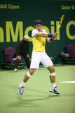 Rafael Nadal-Spiele Qatar-geöffnetes Tennis Lizenzfreies Stockfoto