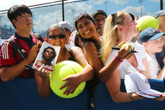 Rafael Nadal tennis fans waiting for autographs at Billie Jean King National Tennis Center in New York. Royalty Free Stock Photos