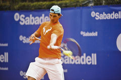 Rafael Nadal Training in Barcelona to the 62 edition of the Conde de Godo Trophy tennis tournament Royalty Free Stock Photo
