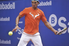 Rafael Nadal Training in Barcelona to the 62 edition of the Conde de Godo Trophy tennis tournament Stock Images
