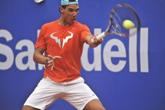 Rafael Nadal Training in Barcelona to the 62 edition of the Conde de Godo Trophy tennis tournament Royalty Free Stock Photography