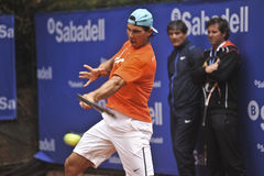 Rafael Nadal Training in Barcelona to the 62 edition of the Conde de Godo Trophy tennis tournament Stock Image