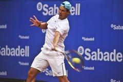 Rafael Nadal Training en Barcelona a la edición 62 del torneo de tenis de Conde de Godo Trophy Imagenes de archivo