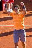 Rafael Nadal wins the match. BARCELONA - APRIL 29: Spanish tennis player Rafael Nadal wins the final match against David Ferrer at Barcelona tennis tournament Stock Photography