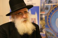 Rafael Shaffer - chief Rabbi of Jews in Romania. At Temple and Synagogue exhibition in Romania from History Museum of Romania, february 2018 Stock Photo