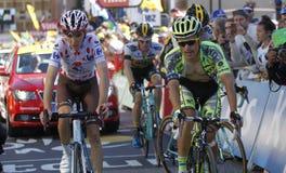 Rafal Majka and Romain Bardet Tour de France 2015 Stock Image