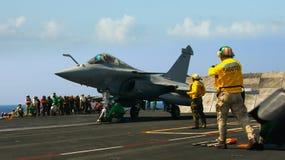 Rafale francês no porta-aviões Foto de Stock Royalty Free
