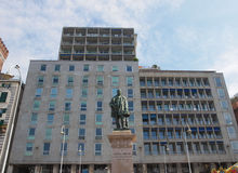 Raffaele Rubattino-standbeeld in Genua Stock Fotografie