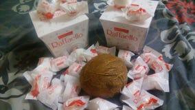 Raffaello and coconuts. I really love coconuts and rafaello, it& x27;s very tasty and beautiful Stock Image