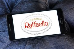 Raffaello confection comapny logo. Logo of Raffaello confection company on samsung mobile. Raffaello is a spherical coconut almond confection that manufacturer royalty free stock image