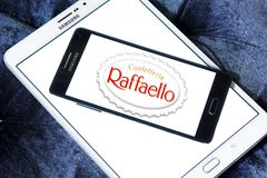 Raffaello confection comapny logo. Logo of Raffaello confection company on samsung mobile. Raffaello is a spherical coconut almond confection that manufacturer stock image