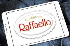 Raffaello confection comapny logo. Logo of Raffaello confection comapny on samsung tablet. Raffaello is a spherical coconut almond confection that manufacturer royalty free stock photos