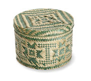Raffia Box. Box made of woven raffia fiber isolated on white Royalty Free Stock Photo