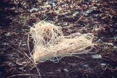Raffia heart. On natural winter forest ground Stock Images