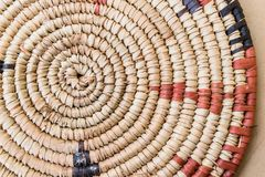 Raffia Place Mat Extra Rough Plaiting Grunge Texture Detail. Traditional Handcraft Weave Thai Or African Style Pattern Nature Back Stock Photo