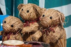 raffia teddy αρκούδες παζαριών στοκ εικόνες