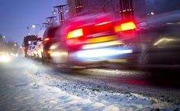 Raffic avond de winter stock afbeeldingen