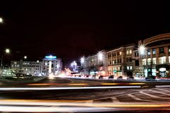 Еraffic of the night city. Evening traffic of the big city Royalty Free Stock Photography