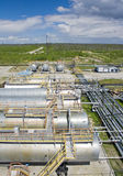 raffinaderi för växt för industrioljepetrochemical Arkivbilder