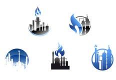 Raffinaderifabrikssymboler och symboler stock illustrationer