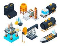 Raffinage de pétrole de pétrole et de gaz Photos isométriques réglées