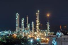 Raffineria di notte a Sri Racha Thailand Fotografie Stock Libere da Diritti