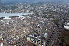 Raffinerie de Bayway en Elizabeth, New Jersey, Etats-Unis Photos stock