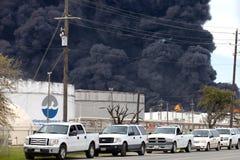 Raffinerie-Feuer in Houston Texas lizenzfreie stockfotografie
