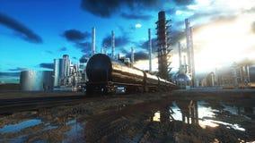 raffinerie Huile, usine de petrolium Metal la pipe rendu 3d Photographie stock