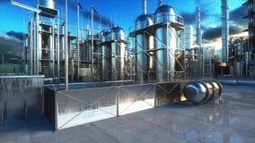 raffinerie Huile, usine de petrolium Metal la pipe rendu 3d Images stock