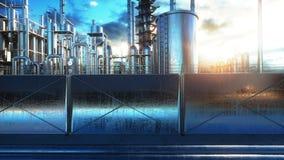 raffinerie Huile, usine de petrolium Metal la pipe rendu 3d Photographie stock libre de droits