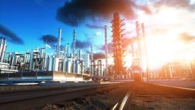 raffinerie Huile, usine de petrolium Metal la pipe rendu 3d Photo libre de droits