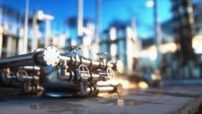 raffinerie Huile, usine de petrolium Metal la pipe rendu 3d Photos stock