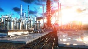 raffinerie Huile, usine de petrolium Metal la pipe rendu 3d Image libre de droits