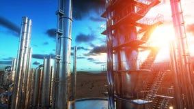 raffinerie Huile, usine de petrolium Metal la pipe rendu 3d Photo stock