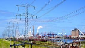 Raffinerieanlage am Europort Hafen, Rotterdam lizenzfreie stockbilder