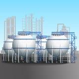 Raffinerietanklager mit Rohrleitung Lizenzfreies Stockbild