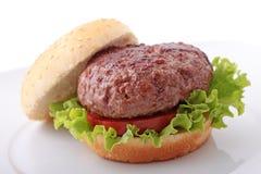 Raffinez l'hamburger dans une plaque photographie stock libre de droits