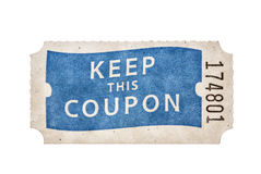 Raffle Coupon Ticket. With keep this coupon and a number isolated on white Royalty Free Stock Images