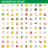 100 raffle icons set, cartoon style. 100 raffle icons set in cartoon style for any design vector illustration Royalty Free Stock Photos