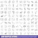 100 raffle icons set, outline style Royalty Free Stock Image