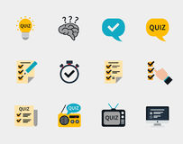 Raffle prizes and quiz flat icons Royalty Free Stock Images