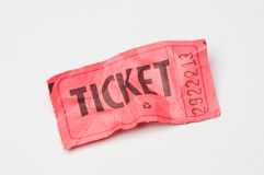 Raffle ticket. A crumpled red raffle ticket on white Stock Images