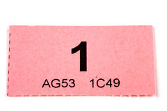 Raffle Ticket number 1 Royalty Free Stock Photo
