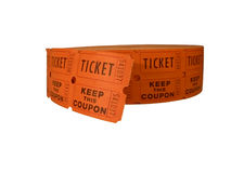 Raffle tickets. Photo of a roll of raffle tickets isolated over a white background via clipping path royalty free stock photos